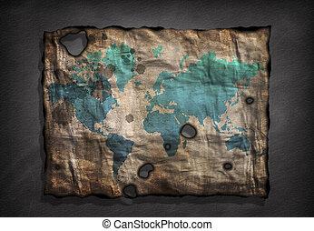 zakłopotany, mapa, papier, stary świat
