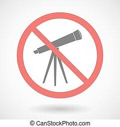 zakazany, wektor, teleskop, sygnał