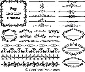 zakrętasy, dzielący, winiety, decoration., calligraphic, elementy, projektować, układa, brzegi, strona