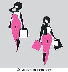 zakupy, dziewczyny, mnóstwo