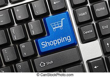 zakupy, -, key), klawiatura, konceptualny, (blue