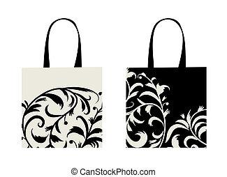 zakupy, kwiatowy, torba, projektować, ozdoba
