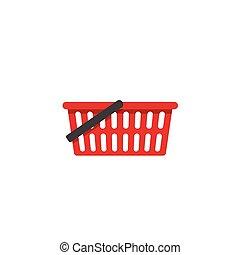 zakupy, odizolowany, wektor, kosz, opróżniać, ikona