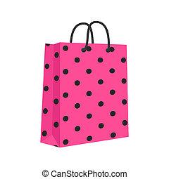 zakupy, różowy, odizolowany, związać, torba, papier, wektor, czysty, handles., black.