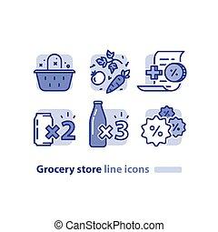 zakupy, sklep spożywczy, oferta, jadło, warzywa, lojalność, kosz, dyskonto, świeży, napój, puszki, soda, program, ikona, kreska, nagroda