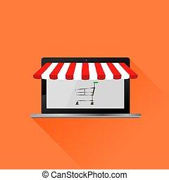 zakupy, tent., laptop, awning., online, pasiasty, otwarty, biały czerwony