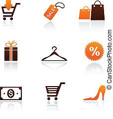zakupy, zbiór, ikony