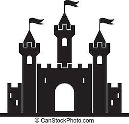 zamek, średniowieczny, gmach, wektor