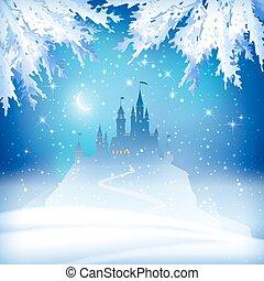 zamek, boże narodzenie, zima
