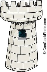 zamek, jednorazowy, wieża, odizolowany