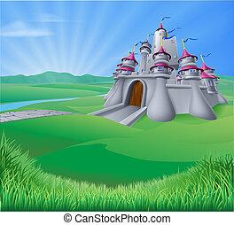 zamek, krajobraz, ilustracja