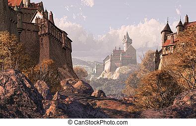 zamek, wieś, średniowieczny, czasy