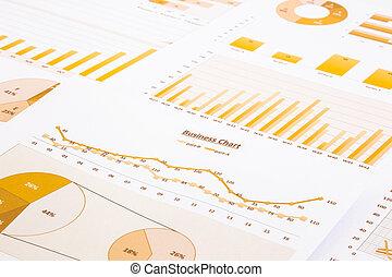 zameldować, backgroun, wykresy, wykresy, summarizing, handlowy, żółty