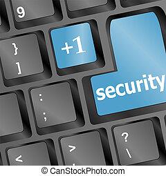 zamknięcie, -, do góry, key), klawiatura, konceptualny, (blue, bezpieczeństwo, prospekt