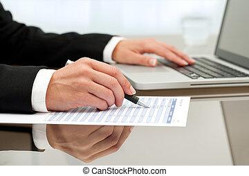 zamknięcie, paperwork., do góry, samicze ręki