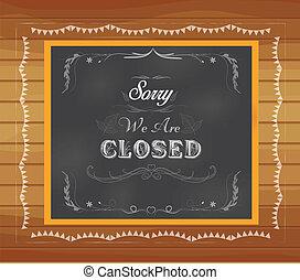 zamknięcie, pisemny, chalkboard