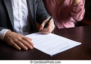 zamykanie, kawiarnia, transakcja, porozumienie, para, kaukaski, znak