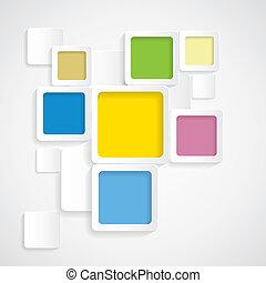 zaokrąglony, barwny, graphi, -, wektor, tło, brzegi, kwadraty