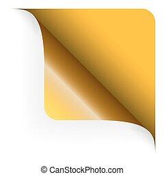 zaokrąglony, górny, -, żółty, papier, róg