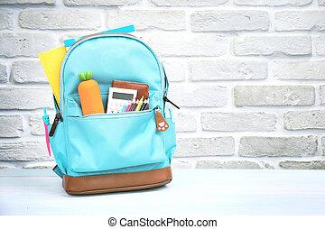 zaopatruje, przestrzeń, opróżniać, tło., plecak, przybory, szkoła