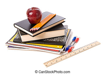 zaopatruje, szkoła, biały, jabłko, tło