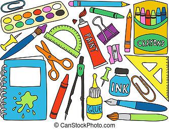 zaopatruje, szkoła, rysunki
