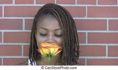 zapachy, dziewczyna, smiles., róża