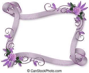 zaproszenie, ślub, brzeg, lawenda, róże