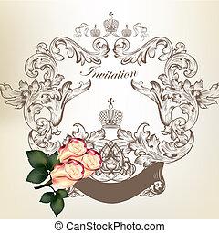 zaproszenie, ślub, karta, róże, ułożyć, rocznik wina