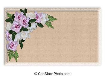 zaproszenie, róże, brzeg, ślub, kwiatowy