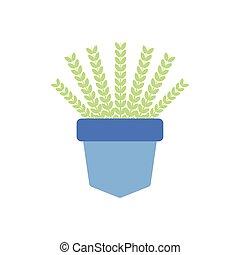 zapuszkować rośliny, ozdoba, płaski, ikona, houseplant