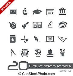 //, zasadniczy, wykształcenie, ikony