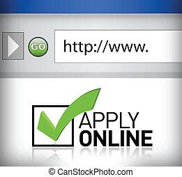 zastosować, okno, browser, online