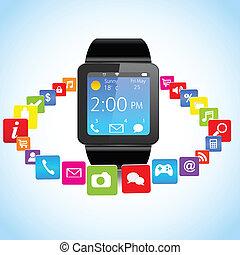 zastosowanie, smartwatch, ikony