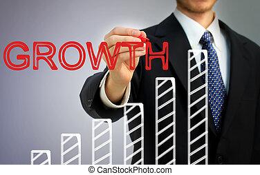 zasuńcie wykres, na, pisanie, wzrost, biznesmen