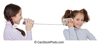 zawiązywać, telefon, dzieci, blaszka, interpretacja