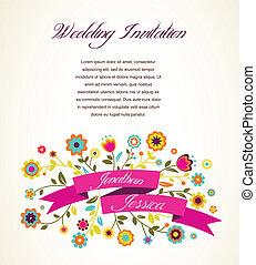 zawiadomienie, karta, powitanie, zaproszenie, ślub, albo