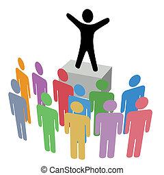 zawiadomienie, soapbox, grupa, kampania, komunikacja