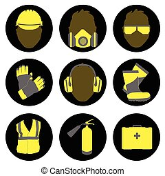 zawodowy, znaki, zdrowie, ikony, komplet, bezpieczeństwo