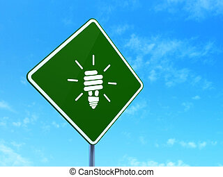 zbawczy, handlowy, energia, znak, lampa, concept:, tło, droga