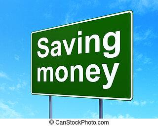 zbawczy, handlowy, pieniądze, znak, droga, tło, concept: