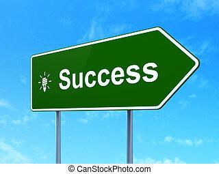 zbawczy, handlowy, powodzenie, energia, znak, lampa, concept:, tło, droga