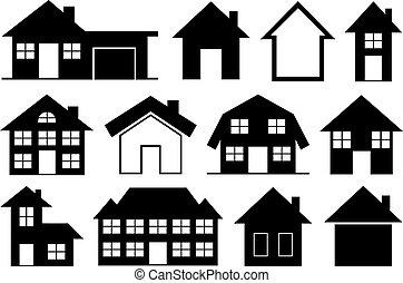 zbiór, domy, różny