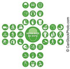 zbiór, dwunawowy, zdrowie, ikona, zielony, bezpieczeństwo