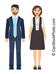 zbiór, materiał, biznesmen, pracownicy, biuro, komplet, rysunek, chodząc, ikony, kobieta interesu