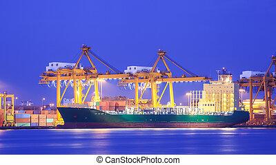 zbiornik ładunku, pojęcie, port, eksport, logistyka, import, statek, żuraw, przewóz
