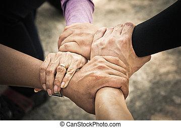 zbiorowy, ręka, /teamwork, 4, gromadzić, spotkanie