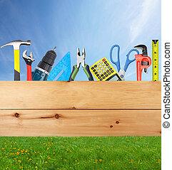 zbudowanie, collage., narzędzia