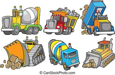 zbudowanie, wektor, komplet, pojazd