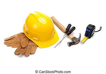 zbudowanie, zaopatruje, pracownik, biały